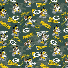"(Remnant 18"") NFL Disney Mickey Green Bay Packers Fabric to sew - QuiltGirls®"