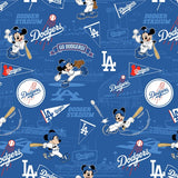 "(Remnant 18"") MLB Disney Mickey Los Angeles Dodgers Fabric to sew - QuiltGirls®"