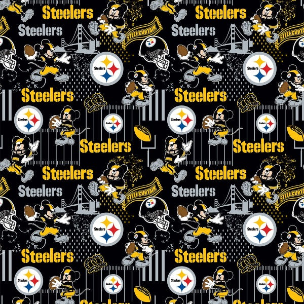 NFL Disney Mickey Pittsburg Steelers Fabric to sew - QuiltGirls®