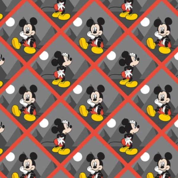 "(Remnant 18"") Mickey Tiles Fabric to sew"