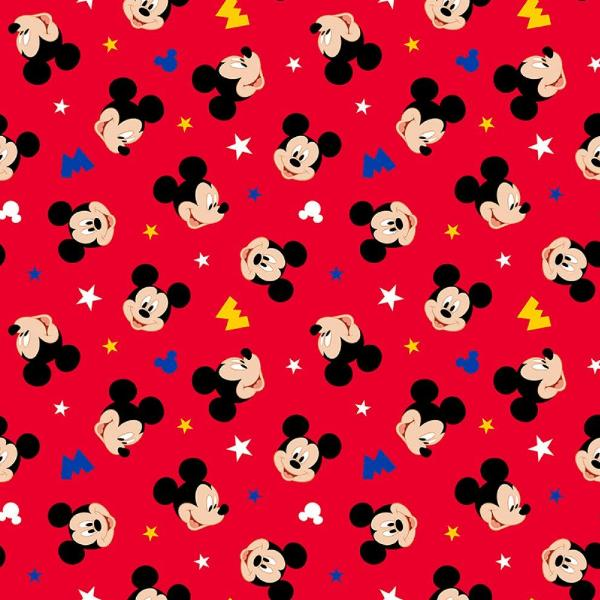 Mickey Head Toss Red Fabric to sew