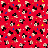 Mickey Head Toss Red Fabric to sew - QuiltGirls®