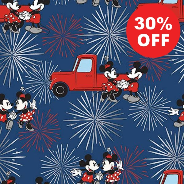 Mickey and Minnie Fireworks Metallic Fabric to sew