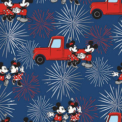 "(Remnant 18"") Mickey and Minnie Fireworks Metallic Fabric to sew - QuiltGirls®"