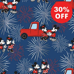 Mickey and Minnie Fireworks Metallic Fabric to sew - QuiltGirls®