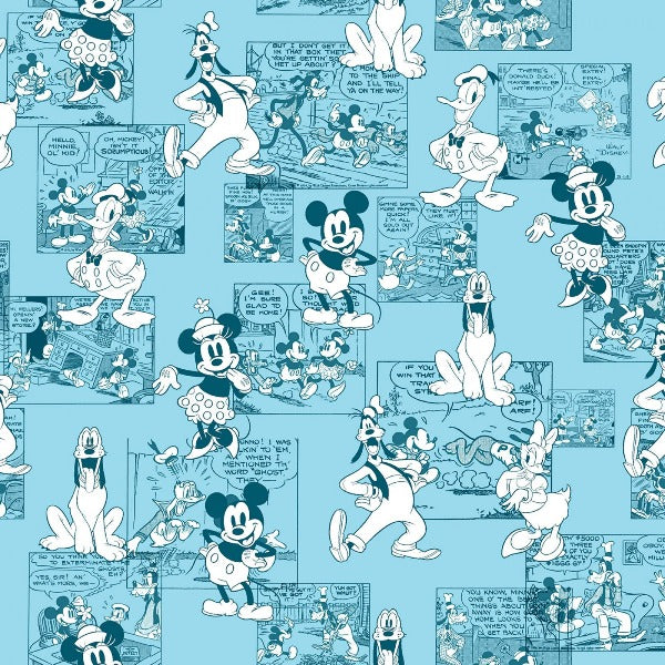 Mickey and Friends Sensational 6 Comic Strip Fabric to sew - QuiltGirls®