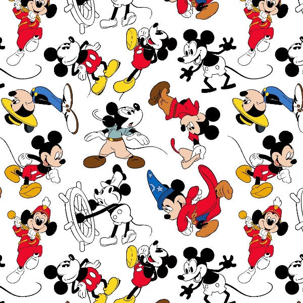 "(Remnant 18"") Mickey Mouse Through the Years Fabric to sew"
