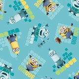 Minions Unique Toss on Turquoise Fabric to sew - QuiltGirls®