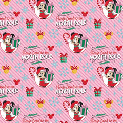 "(Remnant 18"") Christmas Minnie Mouse North Pole Fabric to sew - QuiltGirls®"