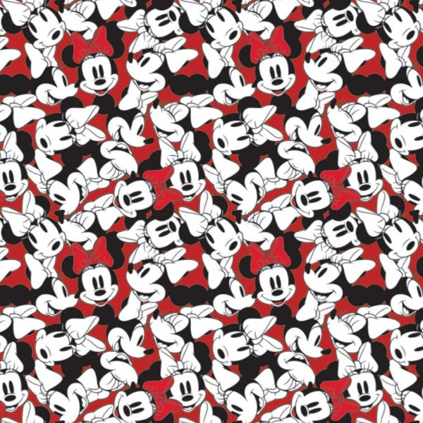 Minnie Mouse Stacked on Red Fabric to sew