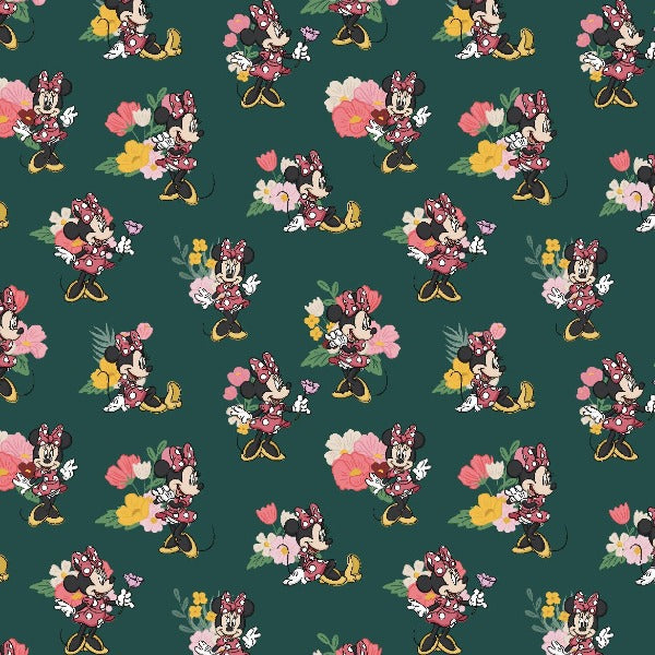"(Remnant 18"") Minnie Traditional Flower Fabric to sew"