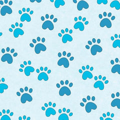 BLU Miss Kitty's Colors Paw Prints on Blue Fabric to sew - QuiltGirls®