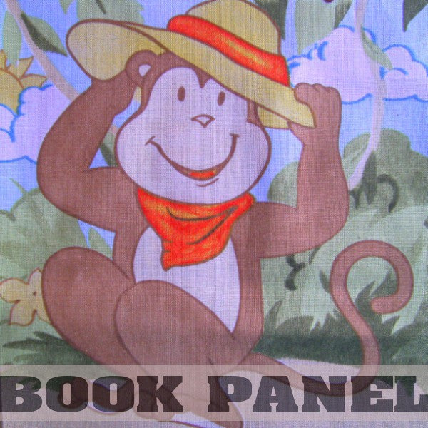 Monkey Games Fabric Book Panel to sew