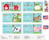 I Love Old MacDonald's Farm Fabric Book Panel to sew - QuiltGirls®
