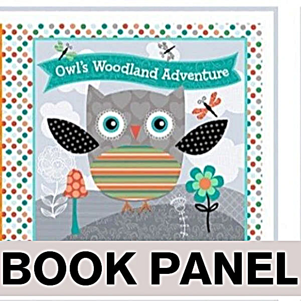 Owl's Woodland Adventure Fabric Book Panel to sew