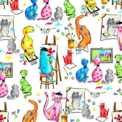 "(Remnant 18"") Pablo Picatsso Artistic Cats Fabric to sew - QuiltGirls®"