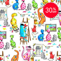 Pablo Picatsso Artistic Cats Fabric to sew - QuiltGirls®