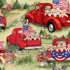 "(Remnant 18"") Patriotic Puppies Fabric to sew - QuiltGirls®"