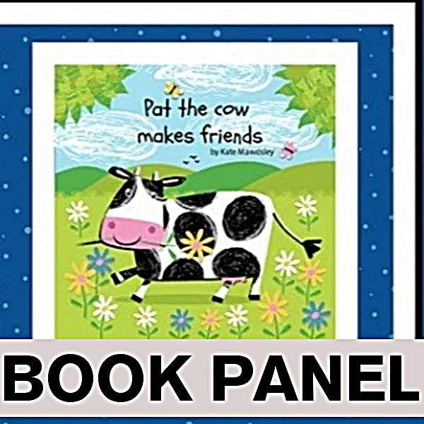 Pat the Cow Makes Friends Fabric Book Panel to Sew