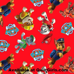 Paw Patrol Toss Red Fabric to sew - QuiltGirls®