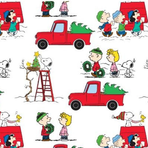 Peanuts Red Truck Christmas Fabric to sew