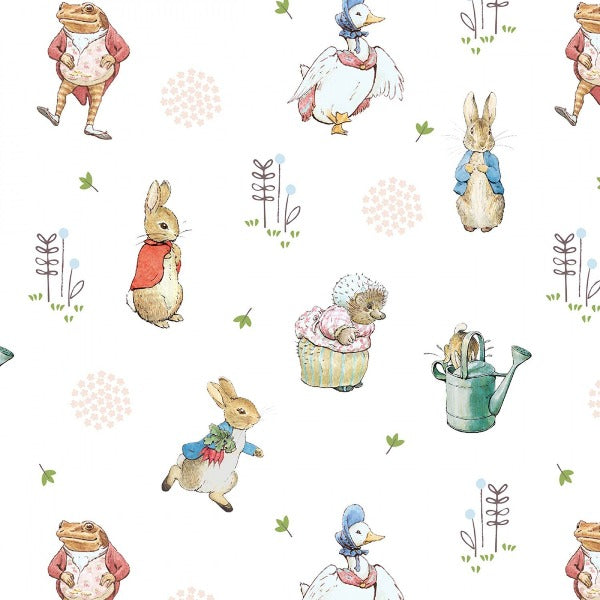 Beatrix Potter Characters on White Digital Fabric to sew