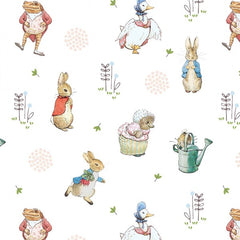 Beatrix Potter Characters on White Digital Fabric to sew - QuiltGirls®