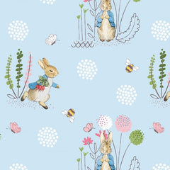 Peter Rabbit on Blue Digital Fabric to sew - QuiltGirls®