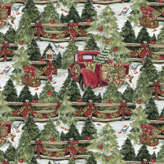 "(Remnant 18"") Christmas Pine Trees and Fences Fabric to Sew - QuiltGirls®"