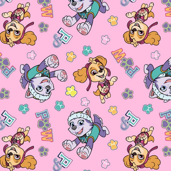 Paw Patrol Pink with Skye and Everest Fabric to sew