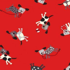 "(Remnant 18"")  Playful Pups Dogs on Red Fabric to sew - QuiltGirls®"