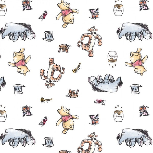 "(Remnant 18"") Disney's Pooh Busy Days on White Fabric to sew"