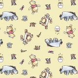 Disney's Pooh Busy Days on Yellow Fabric to sew - QuiltGirls®