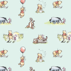 "(Remnant 18"") Disney's Pooh Storytime Mint Fabric to sew - QuiltGirls®"
