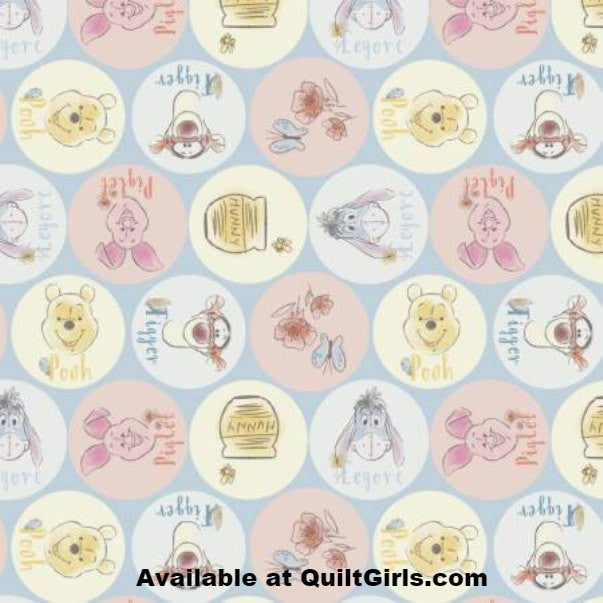 Pooh and Friends Names Fabric to sew