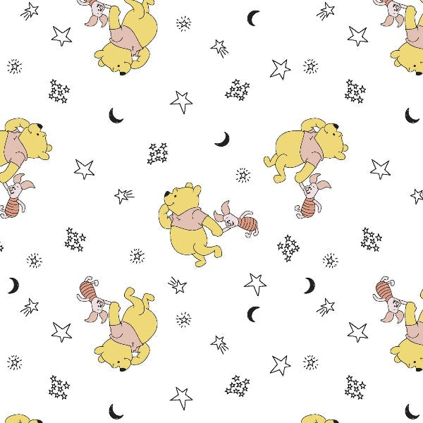 Pooh and Piglet Stars on White Fabric to sew - QuiltGirls®