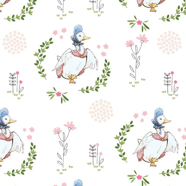 Puddle Duck on White Digital Fabric to sew