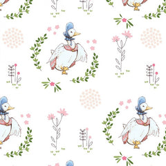 Puddle Duck on White Digital Fabric to sew - QuiltGirls®
