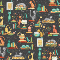Purrfect Day Cattitude on Black Fabric to sew - QuiltGirls®