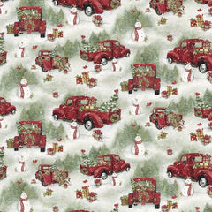 "(Remnant 18"") Christmas Red Truck Scenic Fabric to Sew - QuiltGirls®"