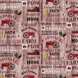 Farmall Hometown Life Red Words Fabric to sew - QuiltGirls®