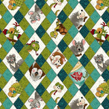 Rescued and Loved Pets on Argyle Fabric to sew - QuiltGirls®