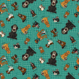 Rescued and Loved Animal Toss Teal Fabric to sew - QuiltGirls®