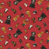 Rescued and Loved Animal Toss Red Fabric to sew - QuiltGirls®