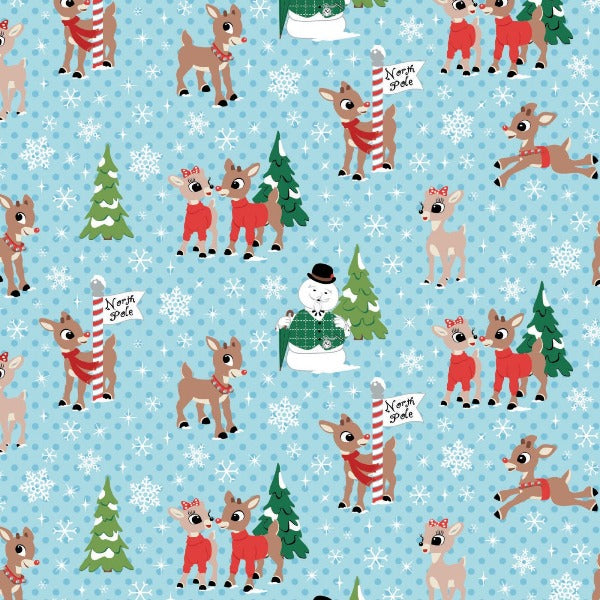 Christmas Rudolph and Friends on Blue Fabric to sew