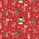 Christmas Rudolph and Friends on Red Fabric to sew - QuiltGirls®