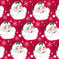"(Remnant 18"") Christmas Santa on Red Fabric to Sew - QuiltGirls®"