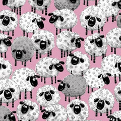 "(Remnant 18"") Susybee's Lewe Allover Sheep Pink Fabric to sew - QuiltGirls®"