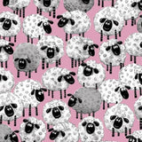 Susybee's Lewe Allover Sheep Pink Fabric to sew - QuiltGirls®