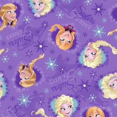 Frozen Sisters Ice Skating and Hearts Fabric to Sew - QuiltGirls®